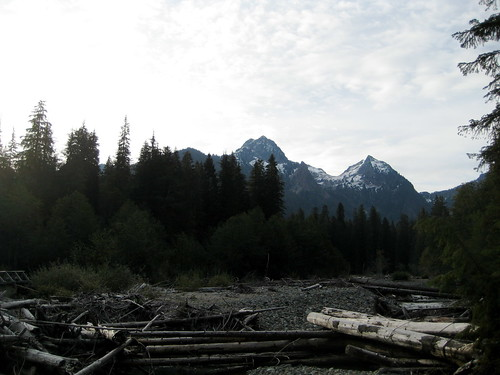 Peaks behind the near-dry bed of the Sauk