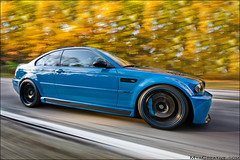 Laguna Seca Blue BMW M3 (jeremycliff) Tags: blue red cliff chicago color fall leaves yellow canon illinois angle wide fast sigma jeremy rig bmw laguna carbon fiber m3 seca 1020 rolling cf volk hpf lsb brembo bmwm3 lagunasecablue 40d rigshot jeremycliff myacreativecom chitownmcom