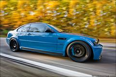 Laguna Seca Blue BMW M3 (jeremycliff) Tags: blue red cliff chicago color fall leaves yellow canon illinois angle wide fast sigma jeremy rig bmw laguna carbon fiber m3 seca 1020 rolling cf volk hpf lsb brembo bmwm3 lagunasecablue 40d rigshot jeremycliff myacreativecom chitownmcom