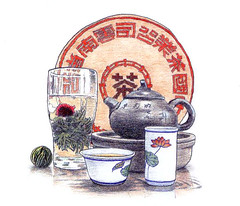 Chinese tea set (Ken Mat) Tags: stilllife illustration pencil drawing editorial chinesetea teaservice