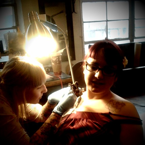 @wankergirl getting tattooed at Saved Tattoo in Williamsburg, Brooklyn
