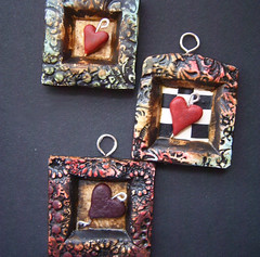 Heart - pendant (gabriel studios) Tags: red black bird texture moody heart handmade oneofakind painted clay ethereal crow etsy raven sculpted pendants polymer gabrielstudios michelegesing