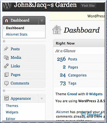 Screen shot of Jaycjayc's Site Admin at WordPress