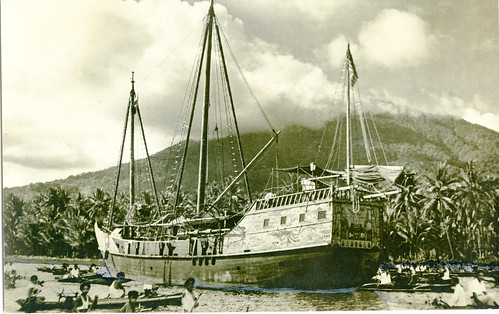 The Cheng Ho anchored in Tahuna, Sangir Besar