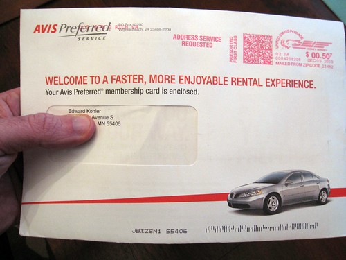 Avis Car Rental Print Spam