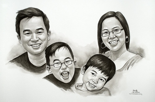 my family portraits in black & white watercolour 10MP