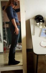 mrcz_zo_17 (mariczka) Tags: selfportrait reflection film home me girl analog 50mm mirror iso200 diptych boots interior room rangefinder redhead jeans f20 zorki4 fujicolorsuperia200 mynewflat mariczka vintageanalogue lensjupiter8 knitedboots
