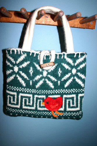 Red bird on repurposed wool sweater purse