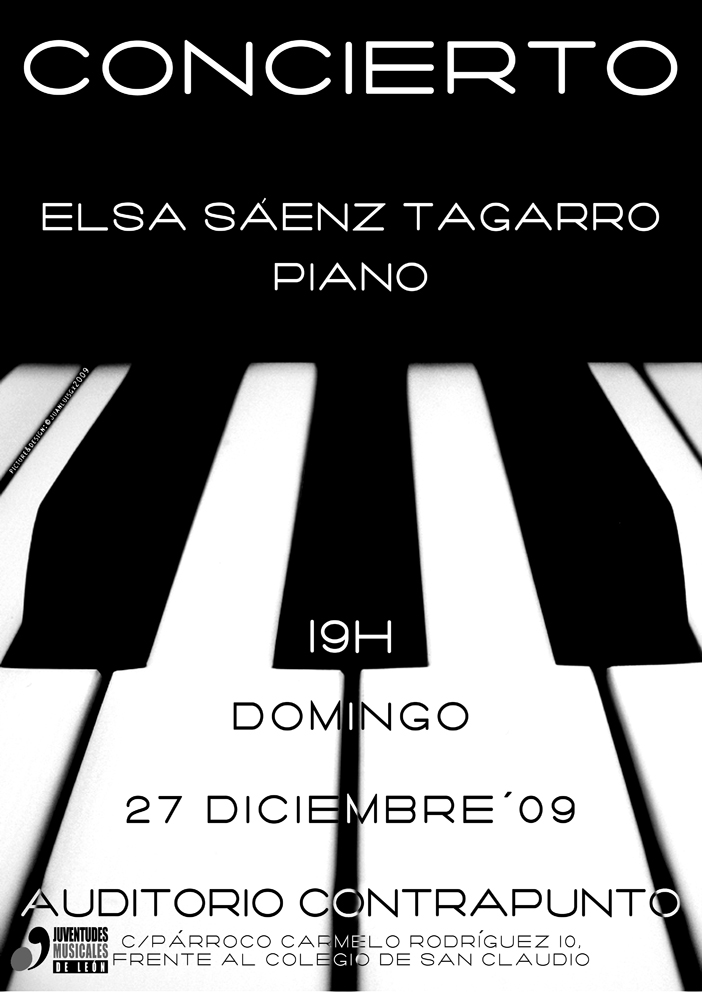 CONCIERTO DE ELSA SÁEZ TAGARRO, PIANO - 27.12.09 AUDITORIO CENTRO AUTORIZADO CONTRAPUNTO