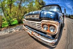 Ford Pickup Truck (Mike Chen aka Full Time Taekwondo Dad) Tags: blue ford truck rust antique sony pickup fisheye hdr orangeempirerailwaymuseum a900 sal16f28