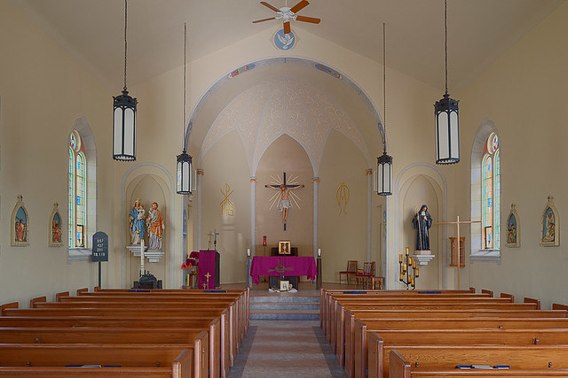Saint Gertrude Roman Catholic Church, in Grantfork, Illinois, USA - nave