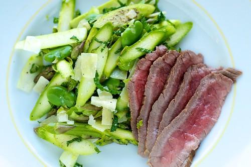 Shaved asparagus, favas, mint, dry jack