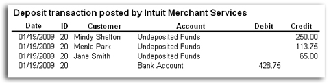 Intuit Merchant Services interface with QuickBooks - VISA