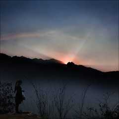Sunset over Fansipan (NaPix -- (Time out)) Tags: sunset sky woman mountains nature silhouette clouds landscape asia bamboo vietnam explore hdr sapa indochina elemental fansipan explored muonghoavalley napix canoneosdigitalrebelxsi hoangliensonmountainrange phanxipng
