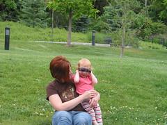 Lilah wearing Mama's sunglasses