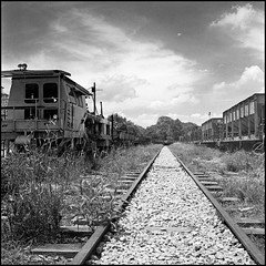 Railroad to Nowhere (>>mansur::amir<<) Tags: blackandwhite bw 120 6x6 tlr film monochrome analog rolleiflex train mediumformat square blackwhite hc110 malaysia selangor planar carlzeiss orangefilter kodaktrix400 kelang 28f rolleiflex28fplanar jalankastamkomuterstation