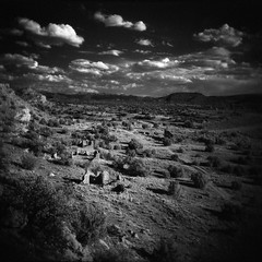 (davidteter) Tags: sky mountains newmexico film clouds holga ruins decay ghosttown miningtown holga120n hagan ilfordsfx200 autaut infraredish