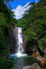 Shosenkyo Falls (TheJbot) Tags: longexposure trees sky nature water japan clouds river waterfall rocks hdr yamanashi shosenkyo nd8