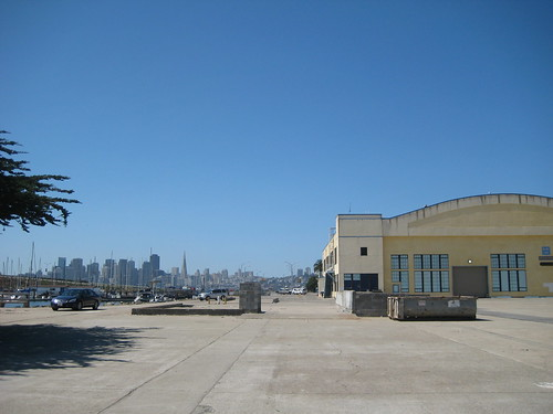San Francisco skyline behind Building No. 2, the planned marketplace.