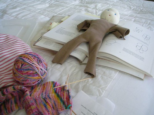 handwork - doll making and knitting