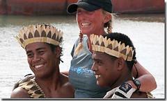 Roz Savage arrives in Tarawa