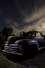 Postwar / Prestorm (Lost America) Tags: lightpainting ford abandoned night superdeluxe fullmoon junkyard 1946 nocturnes thebigm