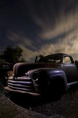 Postwar / Prestorm (Lost America) Tags: lightpainting ford abandoned night superdeluxe fullmoon junkyard 1946 nocturnes thebigm