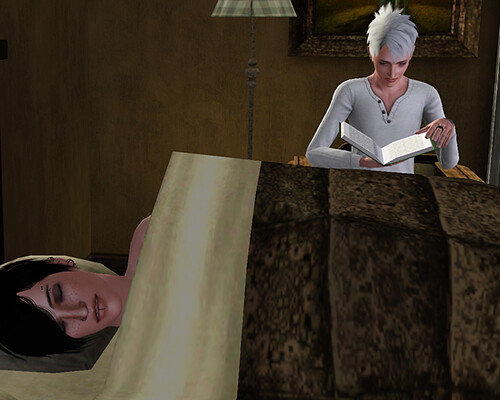 While Aaron sleeps, Ghost reads one of Aaron's books for work