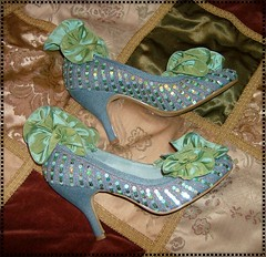Marie Antoinette Disco Queen shoes (ohairas) Tags: blue green ruffles disco shoes mint lolita 80s heels denim ribbon taffeta sequins marieantoinette hime