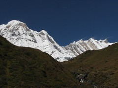 Annapurna South and Hiun Chuli I (boundforotherports) Tags: nepal mountains trekking trek himalaya annapurna annapurnabasecamp annapurnasouth hiunchuli himalayamountains