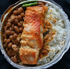 Salmon with Rice and Beans (Harris Graber) Tags: food zeiss salmon seafood tradefair riceandbeans ricebeans sonyalpha700 zeiss1680mmvariosonnar