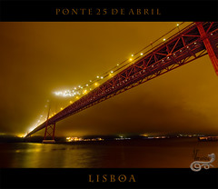 Lisboa (Farruquis) Tags: red orange portugal water fog night puente noche rojo agua lisboa ponte pont naranja niebla farruquis