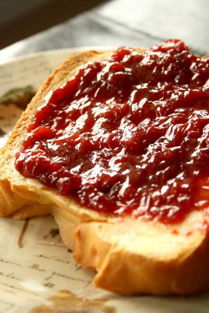 Strawberry Rhubarb Jam on Sour Cream White Bread