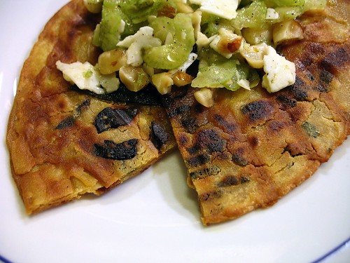 chickpea flour pancakes with black olives & sage