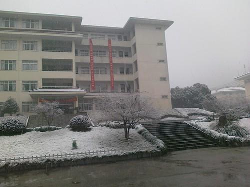 学校雪景,教学楼