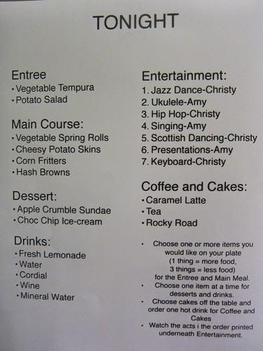 Sunday's menu