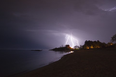Spider lightning (The Charliecam) Tags: lighthouse michigan lightning lakesuperior marquette sonyalpha580