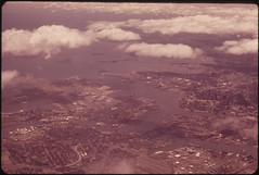 distant aerial view of Logan Airport