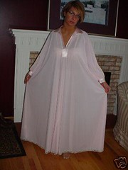 Lucie Ann Pink Nylon & Satin Nightgown Full Length Front Displayed 2 (mondas66) Tags: lingerie boudoir satin nylon nightgown nightgowns nightdress nightwear nightie nighties nightdresses lucieann