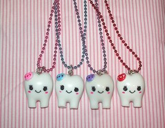 Kawaii Happy tooth necklace (bluekitty88makeup1) Tags: pink blue red cute tooth necklace purple charm plastic kawaii etsy ballchain