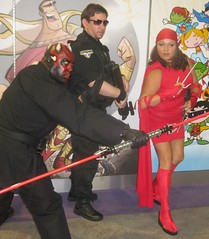 Darth Maul, John Shepherd, & Electra (Duckyguy) Tags: starwars cosplay darthmaul electra sandiegoca sdcc stargateatlantis sandiegoconventioncenter johnshepherd sandiegocomiccon2009 upcoming:event=1494437