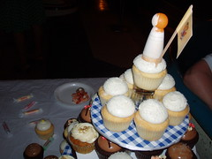 closeup of Christine's cupcake topper; NJ flag