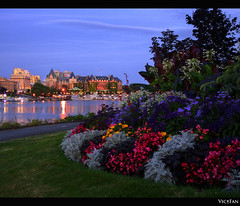 Laurel Point Park in Victoria B.C (Brandon Godfrey) Tags: pictures longexposure flowers canada water grass skyline night boats photo amazing fantastic twilight colorful lo
