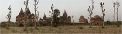 cenotaph cluster - 90 panorama, orchha (nevil zaveri) Tags: trees panorama india tree heritage architecture landscape photography blog photographer photos stock images mausoleum photographs photograph mp monuments zaveri stitched tombs stockimages pradesh travelogue nevil madhyapradesh orchha madhya cenotaphs bundela theverybestofme nevilzaveri