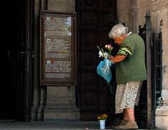 Floral (EstherHubert) Tags: flower church cathedral sofia poor bulgaria oldwoman flowerseller