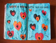 WTJ Pages 51 and 773: Write Or Draw With Your Left Hand (Lady Selena) Tags: blue red orange black love colors hearts blauw colours write left links rood zwart liefde oranje lefthanded faved kleuren schrijven wtj harten schrijf linkshandig wreckthisjournal
