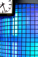 Blue 27 (wout.) Tags: blue clock glass station wall canon blaak time railway eos400d