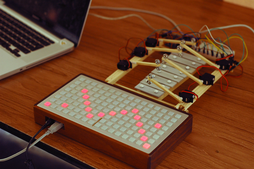 Monome and Xylobot [photo by Ramsey Arnaoot]