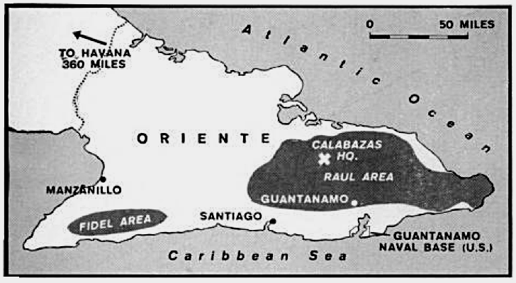 Cuban Rebel Fronts July 1958