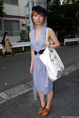 Cute Girl in Captain's Hat (tokyofashion) Tags: street girl hat fashion bag captains belt dress harajuku twiggy marksspencer
